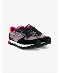 Dolce And Gabbana Glitter Embellished Suede Leather Sneakers Black Multi Coloured Pink Yellow White Blue