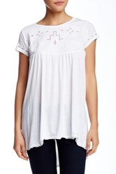 Casual Studio Short Sleeve Cutout Embroidered Blouse White