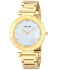 Pulsar Women's Gold Tone Stainless Steel Bracelet Watch 32Mm Pm2080 Women's Shoes