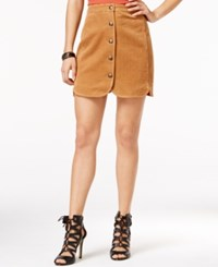 In Awe Of You By Awesomenesstv Awesomeness Tv Juniors' Button Down A Line Mini Skirt Cognac
