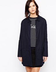 Mbym Tailored Longline Coat With Collar 231Nightsky