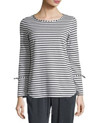 Max Studio Long Sleeve Stripe Print Top Natural