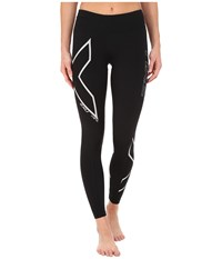 2Xu Hyoptik Mid Rise Thermal Compression Tights Black Silver Reflective Women's Workout