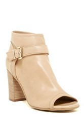 Manas Design Open Toe Leather Bootie Beige
