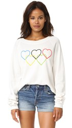 Wildfox Couture Olympic Hearts Cropped Sweatshirt Vintage Lace