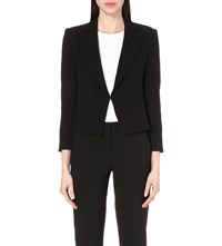 French Connection Rikki Cropped Crepe Blazer Black