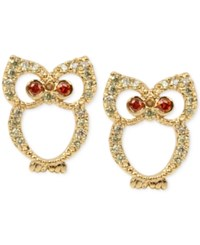 Betsey Johnson Gold Tone Pave Owl Stud Earrings Green