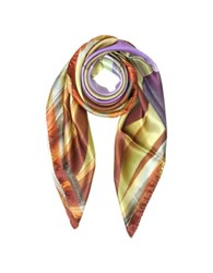Mila Schon Geometric Print Silk Square Scarf Orange Purple