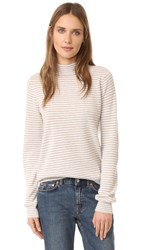 Jenni Kayne Baby Stripe Mock Neck Sweater Oatmeal Cream