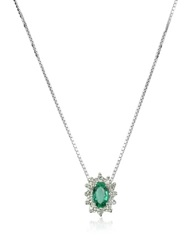 Incanto Royale Diamond And Emerald Drop 18K Gold Necklace Silver