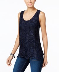 Inc International Concepts Lace Tank Top Only At Macy's Deep Twilight