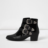 River Island Womens Black Leather Western Buckle Strap Boots