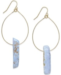 Macy's Gold Tone Blue Lace Agate And Wire Teardrop Earrings