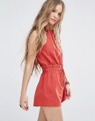 Moon River Elastic Waist Open Back Playsuit Cinnamon Red
