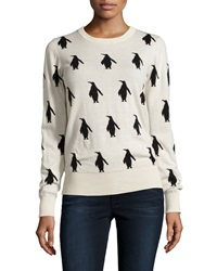 French Connection Penguin Print Crewneck Sweater Cream Black