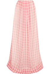 Rochas Checked Silk Gauze Maxi Skirt Pastel Pink