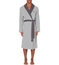 Hugo Boss Striped Jersey Dressing Gown Grey White