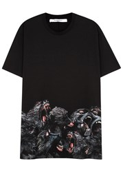 Givenchy Black Monkey Print Cotton T Shirt