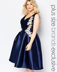 Chi Chi Plus Chi Chi London Plus Plunge Front Embroidered Prom Dress Navy