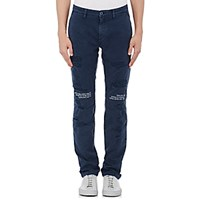 Off White C O Virgil Abloh Men's Distressed Twill Chinos Navy