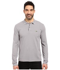 Lacoste L S Classic Pique Polo Platinum Grey Men's Long Sleeve Pullover Gray