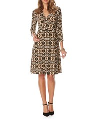 Rafaella Three Quarter Sleeve Printed Faux Wrap Dress Light Tawny