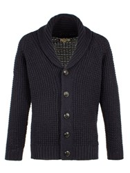 Gibson Men's Chunky Knit Shawl Cardigan Navy