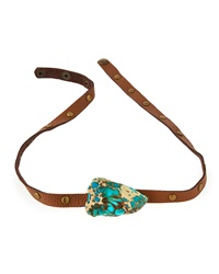 Panacea Studded Leather Wrap Bracelet Brown Turquoise