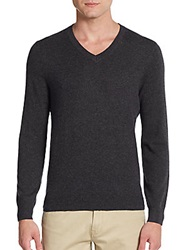 Saks Fifth Avenue Cashmere V Neck Sweater Charcoal