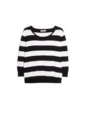 Mango Fine Knit Striped Sweater Black