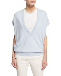 Brunello Cucinelli Cap Sleeve Monili Trim Cashmere Sweater Light Blue Women's