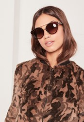 Missguided T Bar Gold Wire Detail Sunglasses Brown Brown
