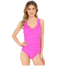 Athena Cabana Solids Soft Cup One Piece Raspberry Women's Swimsuits One Piece Pink