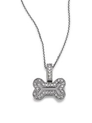 Kc Designs Diamond And 14K White Gold Bone Shaped Pendant Necklace 16In