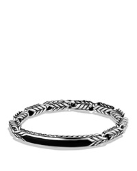 David Yurman Chevron Id Bracelet With Black Onyx Silver Black