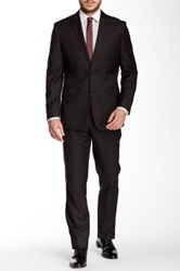 English Laundry Black Solid Two Button Peak Lapel Suit