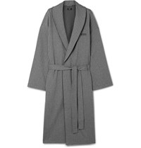 Hugo Boss Bo Herringbone Cotton Robe Gray