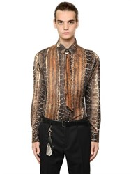 Roberto Cavalli Snake Printed Silk Cotton Shirt