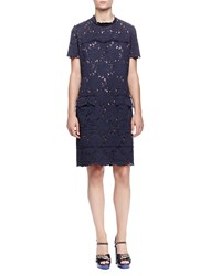 Lanvin Scallop Seamed Lace Shirtdress Navy Blue Multi Colors