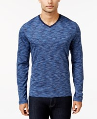 Alfani Men's Big And Tall Tri Color Long Sleeve T Shirt Only At Macy's Cadet Combo
