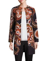 Lafayette 148 New York Makeda Cotton Fille Paisley Print Coat Multi