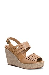 Women's Trask 'Willow' Leather Platform Wedge Sandal Tan