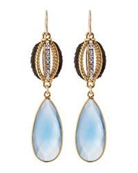 Devon Leigh Cz And Periwinkle Chalcedony Earrings