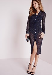 Missguided Lace Midi Shirt Dress Navy Blue