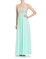 Decode 1.8 Embellished Strapless Gown Mint
