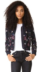 Needle And Thread Embroidered Folk Bomber Jacket Midnight