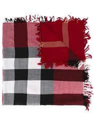 Burberry Checked Scarf Red