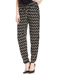 Ny Collection Tuxedo Stripe Printed Soft Pants Beige Conoid