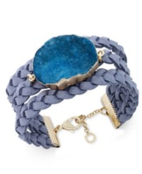 Inc International Concepts Druzy Crystal Faux Leather Cuff Bracelet Only At Macy's Teal