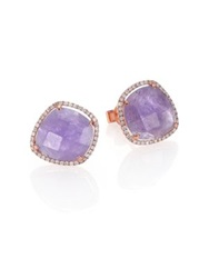 Meira T Tanzanite Mother Of Pearl Diamond And 14K Rose Gold Doublet Earrings Purple Rose Gold